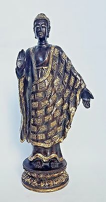 Wood Carving Gilded Thai Buddha Figure standing and praying on Lotus