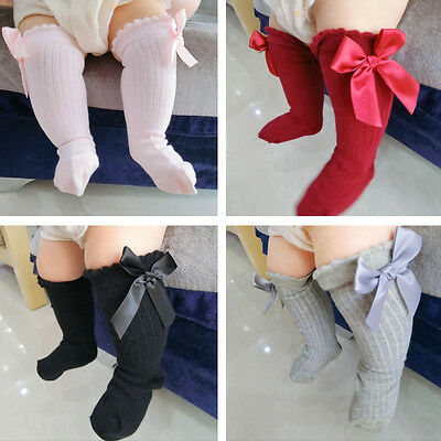 Newborn Baby Girls Toddler Kids Knee High Length Cotton Socks Bow Lace Tights