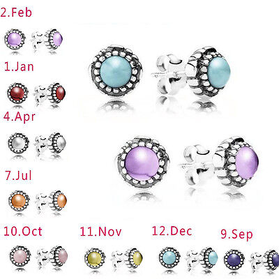 925 Silver Ear Studs Earrings 12Colors Birthstone Month Stone Natural Topaz Lady