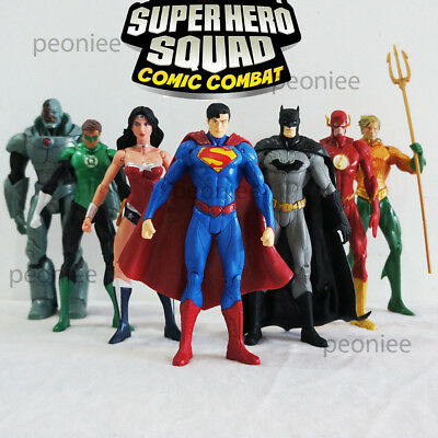 7/Set Famous Comics Justice League of America Super Hero Superman Figure Toy s