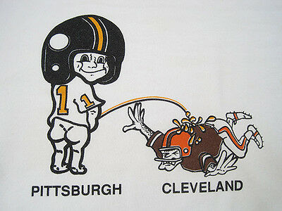 PEE ON 80s vintage PITTSBURGH STEELERS anti CLEVELAND BROWNS sweat shirt MEDIUM