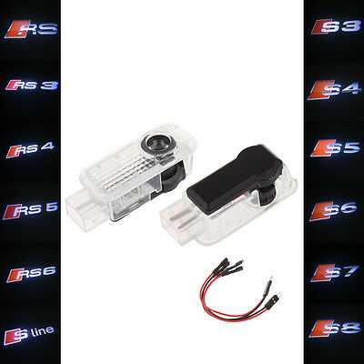 2X LED Car Door Shadow Projector Laser Logo Light Courtesy For Audi RS S3 S5 S6
