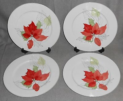 1982 Set (4) Block Spal POINSETTIA PATTERN Dinner Plates MARY LOU GOERTZEN
