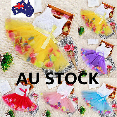 AU Toddler Baby Girl Princess Pretty Lace Bow Flower Tutu Dress Skirt Sleeveless