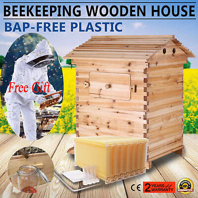 7 PCS Auto Flow Honey Hive Beekeeping Frames + Beehive Wooden Brood House