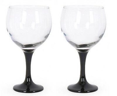 Gin and tonic  cocktail balloon glasses 650ml BLACK foot set of 2!