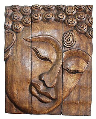 Hand Carved Wooden Thai Buddha Face Wall Art Plaque Hanging Panels Teak Wood