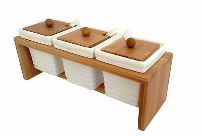 Spices tray condiments tray porcelain sugar coffee set jars with spoons WOOD