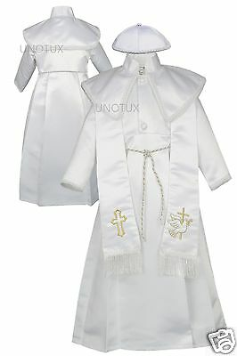 New Baby Boy Infant Toddler Christening Baptism Stole Gown suit 0-30M White Gold