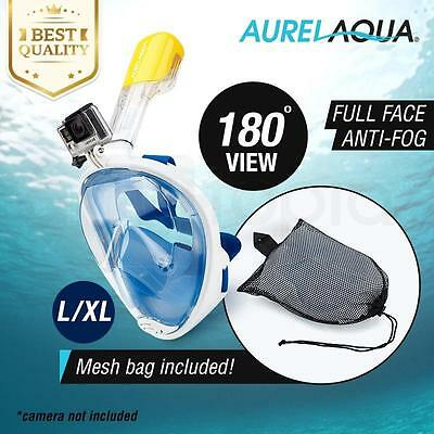 Full Face Snorkel Mask Double Air Flow Anti-Fog 180° View w/ Camera Mount L-XL