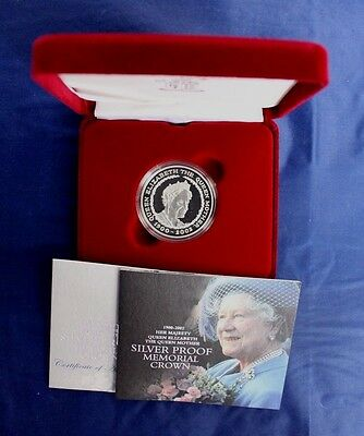 "2002 Silver Proof £5 Crown ""Queen Mother Memorial"" in Case with COA   (Y6/27)"