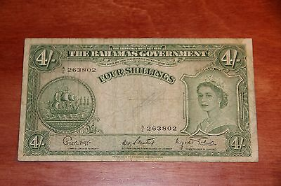 Bahamas Government 4 Shillings 1953 Pick 13d Banknote Currency Paper Money