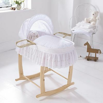 NEW Clair de Lune Broderie Anglaise Palm Moses Basket with Hood & Handle - White