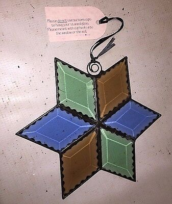 Stained Glass Star Window Sun Catcher - Very Colorful Blue Green & Orange Panels