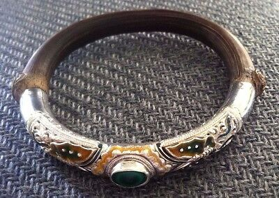 Vtg Antique Chinese Bamboo Sterling Silver Repousse Bracelet W/ Jade & Enameling