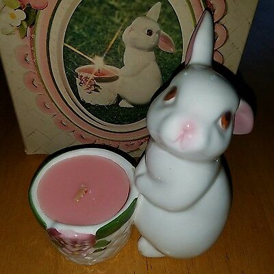 Avon Bunny Bright Ceramic Fragrance Candle Holder Handpainted in Brazil 1980