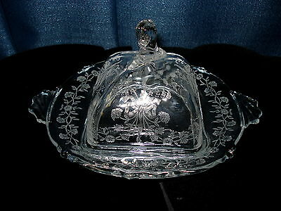 Vintage Heisey Glass Etched Crystal Orchid Waverly Square Covered Butter Dish