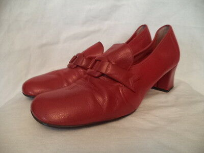 Womens vintage cherry red leather MOD 60s shoes buckle heels 8 9