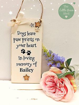 Dog Memorial Plaque Sign Bereavement Keepsake gift 9 x 19cm Cream