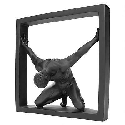 Confinement Collection: Nude Male Form Bowing Pushing Limits Modern Statue