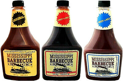3x Mississippi Barbecue Sauce BBQ Grill Würzsauce Orginal,Sweet Mild,Sweet Spicy