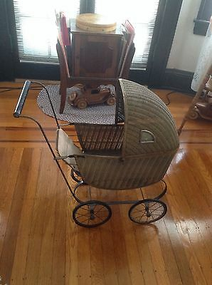 Antique Wicker Baby Carriage Lloyd Loom Products Metal Frame Porthole Windows
