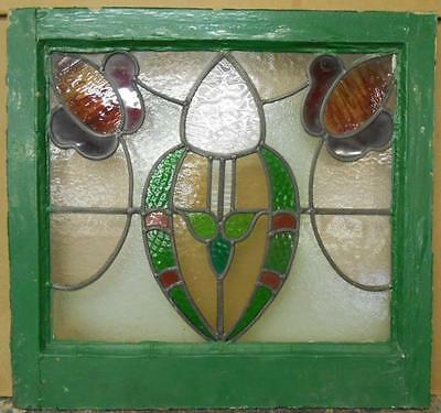 "EDWARDIAN ENGLISH LEADED STAINED GLASS WINDOW Stunning Floral 22.25"" x 21"""