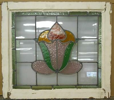 "EDWARDIAN ENGLISH LEADED STAINED GLASS WINDOW Stunning Floral 24"" x 21"""