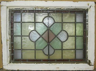"VICTORIAN ENGLISH LEADED STAINED GLASS WINDOW Pretty Geometric 25"" x 18.5"""