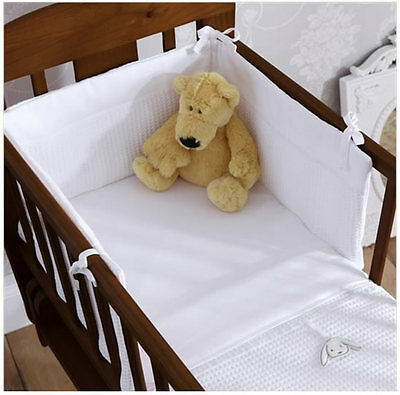 Brand new in pack Izziwotnot white gift two piece crib set Coverlet and bumper