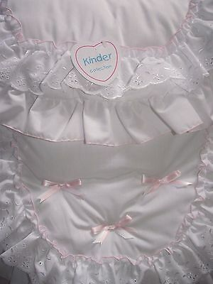 Beautiful Romany Style Ruffles Pram Set Pink White Quilt & Pillow Case by Kinder
