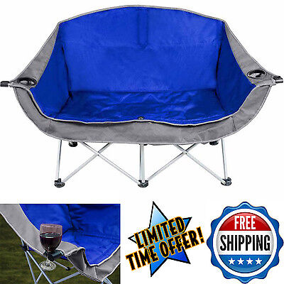 Folding Camping Chair Love Seat Ozark Trail 2 Person Portable Outdoor Furniture
