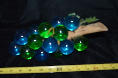 Vintage Large Mid Century Lucite Acrylic Grape Cluster BLUE & GREEN COMBO