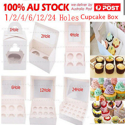 Cupcake Box Range 1 hole 2 hole 4 hole 6 hole 12 24 hole Window Face Cases Party