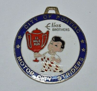 Pontiac Michigan Bob's Big Boy Burgers Motor City Striders Metal Watch Fob Award