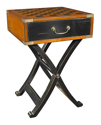 Grandmaster's Box Wooden Chess Checkers Game Table Campaign Furniture