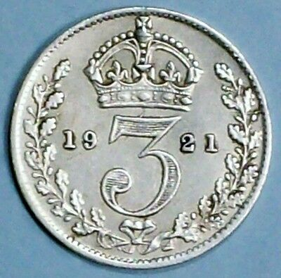 Great Britain 3 Pence 1921 Extra Fine  Silver Coin