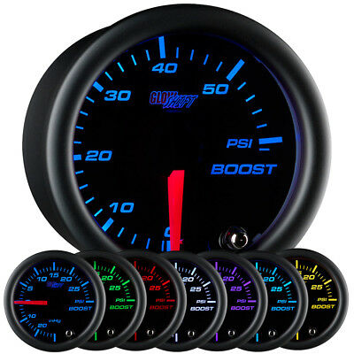 52mm GLOWSHIFT BLACK 7 COLOR 60psi DIESEL TURBO BOOST GAUGE FOR CHEVY DURAMAX