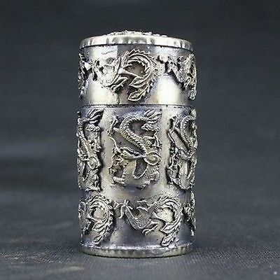 Chinese DECORATED HANDWORK OLD MIAO SILVER CARVED DRAGON PHOENIX Jewelry Box