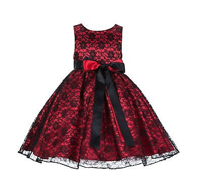 New Wedding Floral Lace Overlay Flower girl dress Ribbon Toddler Bridesmaid 163R