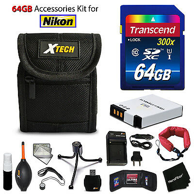 64GB ACCESSORIES Kit for Nikon Coolpix A900 w/ 64GB Memory + Battery + Case