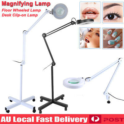 5x Magnifying Lamp Glass Lens Round Head LED Beauty Magnifier Desk Wheel Stand