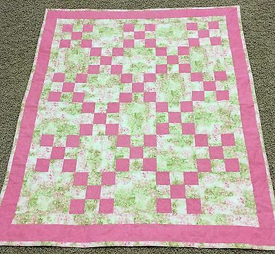 New Handcrafted Cotton Multi-color Pink/Grren 9-Patch Baby Quilt