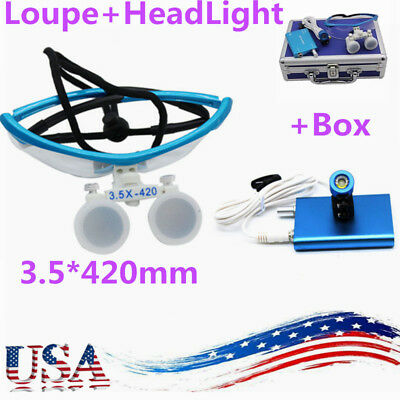 Dental Surgical Binocular Loupes 3.5x 420mm with HeadLight Lamp and Aluminum Box
