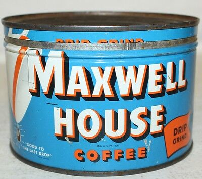Vintage Tin Can Maxwell House Coffee Drip Grind BLUE Orange Kitchen Metal Sign