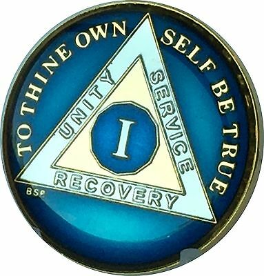 1 Year Midnight Blue AA Alcoholics Anonymous Medallion Sobriety Chip Tri Plat...