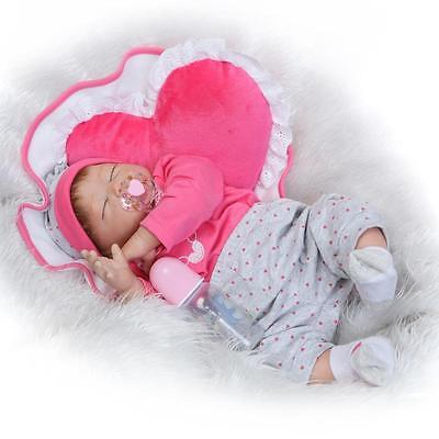 "Handmade 22"" Lifelike Reborn Doll Sleep Baby Half Body Soft Vinyl Newborn Dolls"
