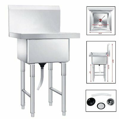 """23-1/2"""" Drop In Single Bowl Laundry Kitchen Utility Basin Sink Stainless Steel"""