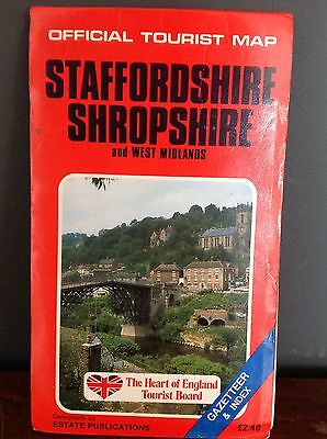 Vintage Heart Of England Tourist Board Staffordshire Shropshire Tourist Map