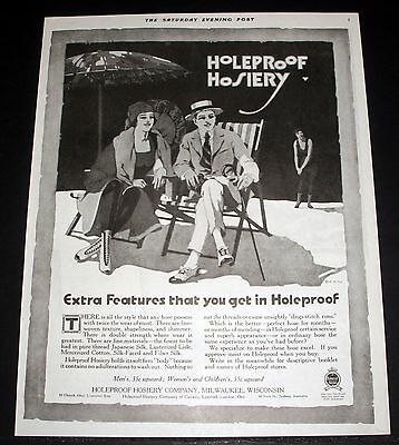 1919 Old Magazine Print Ad, Holeproof Hosiery, Extra Features That You Get, Art!